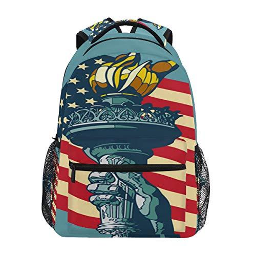 iRoad Schultasche Liberty Amerikanische Flagge Taschenlampe langlebiger leichter Rucksack Schultasche Büchertasche Schultasche für Jungen Mädchen Kinder