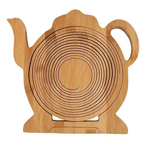 Hornear en casa Multifunción a prueba de calor antideslizante de bambú Trivets Pot Mat cacerola caliente de ratón de bambú plegable de la fruta pan de huevo cesta plegable Frui