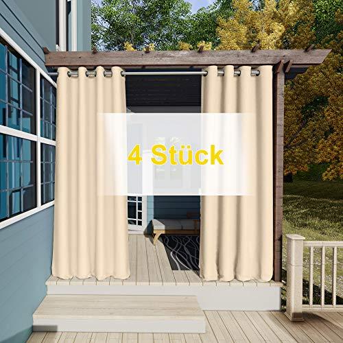Clothink Outdoor Vorhänge Aussenvorhang Garten Verdunkelung Outdoor Gardinen 132x215cm (B x H) 4Stück Beige Blickdicht Winddicht Wasserabweisend Sichtschutz Sonnenschutz UVschutz