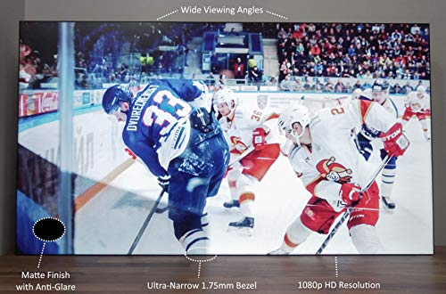 55' Video Wall Monitor Display - Ultra Narrow 1.7mm Bezel TV for Entertainment and Advertising - 1080p Commercial Television High Definition HD 60hz Refresh Rate