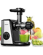 Bonsenkitchen juicer Kauw Slow Juicer, Rustige motor, omkeerfunctie, koude pers-juicer voor selderie, groenten en fruit, met sapkan en borstel voor het reinigen (MJ8901)