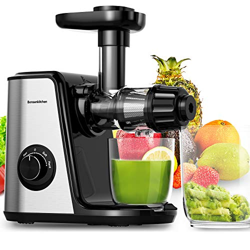 Bonsenkitchen Entsafter Slow Juicer, Gemüse und Obst Profi Entsafter mit Ruhiger Motor und Umkehrfunktion, 2 Geschwindigkeitsmodi Entsafter mit Saftkanne Reinigungsbürste (150 Watt, MJ8901)