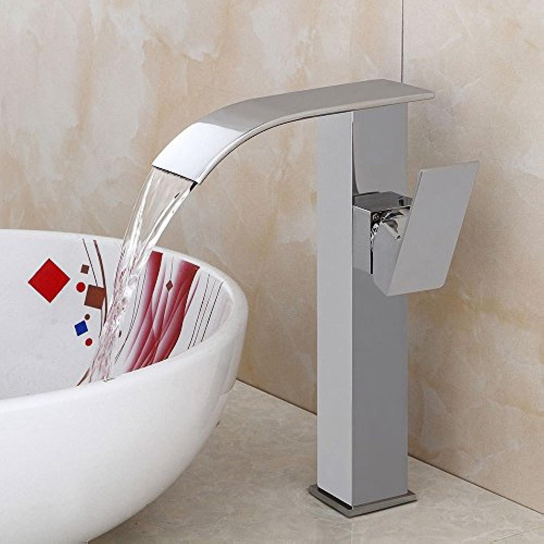 Rmckuva Waschtischarmaturen Moderner Beckenmischer Mit Wasserfall-Effekt, Verchromter Spiegel-Bad-Mischbatterie Aus Messing