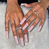 RikView Press on Nails Long Acrylic Nails Coffin Pink Nails Fake Nails for Women with Swirls Design