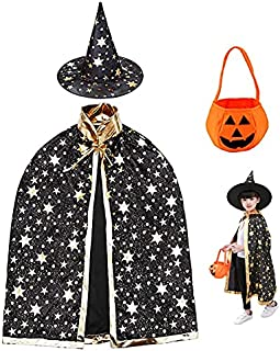 Halloween child witch Cloak Hat and Pumpkin Bag ged 3-12 Halloween Costume Props for Kids Cosplay Party