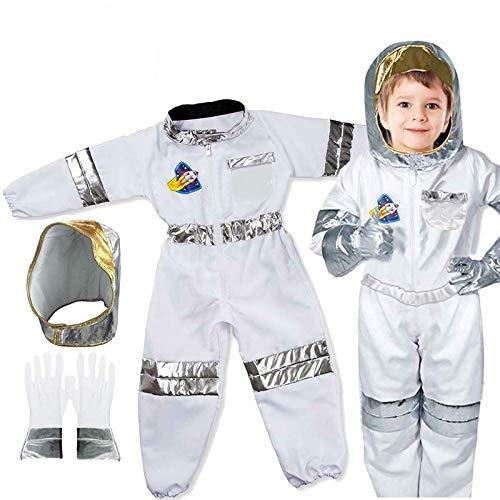 Disfraz de astronauta para niños, disfraz de astronauta para juegos de rol, conjunto de ropa - Tops, pantalones, guantes, casco para niños y niñas, regalo de cumpleaños, 3-7 años