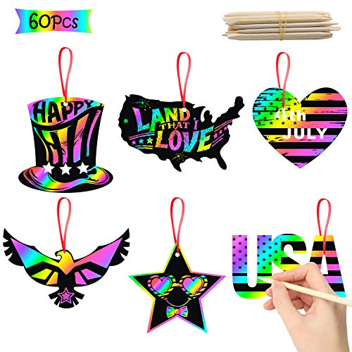 WATINC 60Pcs Patriotic Scratch Paper Cards, Magic Art Rainbow Color DIY Craft Kit for Kids 4th of...