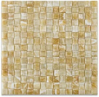 Honey Onyx 3D Small Bread Mosaic Tile, Polished - 6