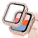 KADES Compatible for Bling Apple Watch Protective Case with Built-in Screen Protector for Apple Watch 38mm 40mm 42mm 44mm iWatch SE Series 6 5 4 3 2 1 (40mm, Rose Gold)