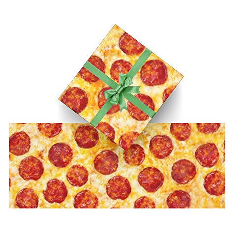 CUXWEOT Gift Wrapping Paper Pepperoni Pizza for Christmas,Birthday,Holiday,Wedding,Gifts Packing - 3Rolls - 58 x 23inch Per Roll