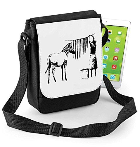 Lavage et étendage Banksy Rayures de zèbre tablette ou Ipad Mini Compatible Digital Reporter Bag