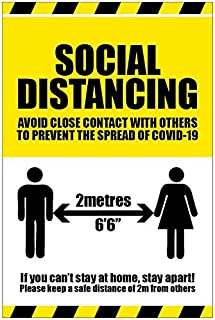 Social Distancing, If you can stay at home stay apart coronavirus rigido PVC señal de seguridad 250x300mm