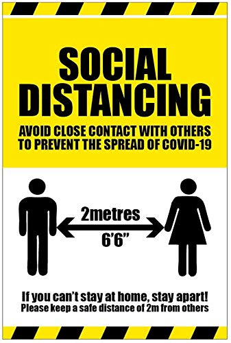 Social distancing, If you can't stay at home stay apart coronavirus rigido PVC cartello di sicurezza 300x400mm