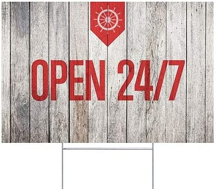 18x12 5-Pack Nautical Wood Double-Sided Weather-Resistant Yard Sign Open 24//7 CGSignLab