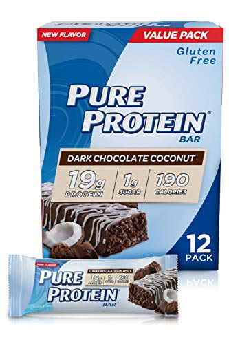 Pure Protein Bars High Protein Nutritious Snacks to Support Energy Low Sugar Gluten Free Dark Chocolate Coconut 176oz 12 Pack