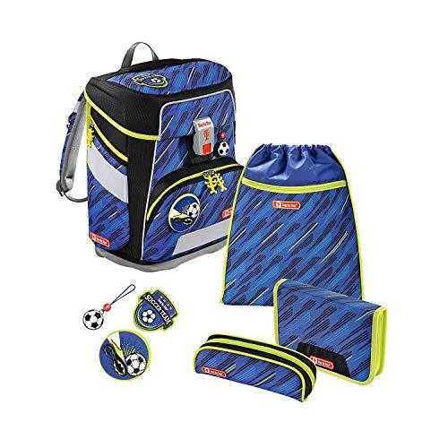 """Step by Step Schulranzen-Set Space """"Soccer Team"""" 5-teilig, blau-schwarz, Fußball-Design, ergonomischer Tornister mit Reflektoren, höhenverstellbar mit Hüftgurt für Jungen 1. Klasse, 20L"""