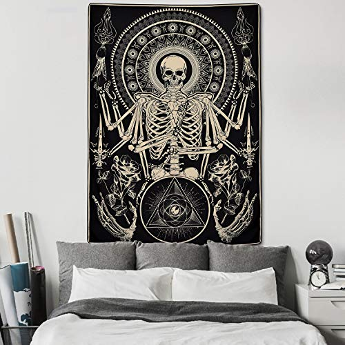 Skull Floral Tapestry Meditation Skeleton Tapestry Gothic Tarot Card Tapestry Cool Black Tapestry for Room(51.2 x 59.1 inches)
