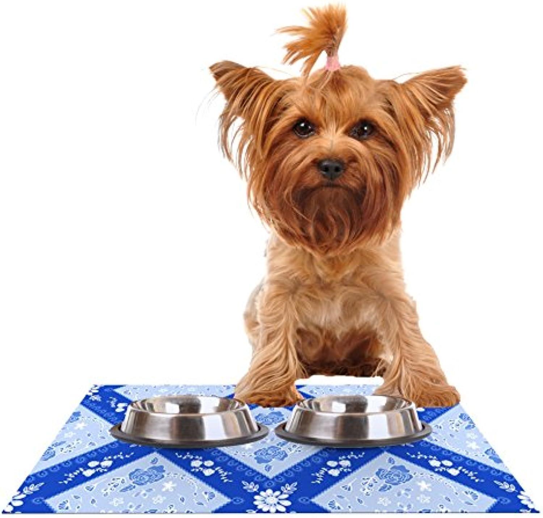 Kess InHouse Anneline Sophia Diamonds bluee Aqua White Feeding Mat for Pet Bowls, 24 by 15