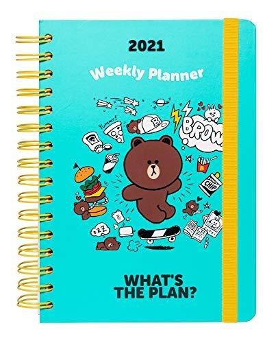 Grupo Erik Terminkalender Line Friends - Kalender für 2021 A5 - Planer mit Wochenansicht, Blau - Gelb, ASVA52101