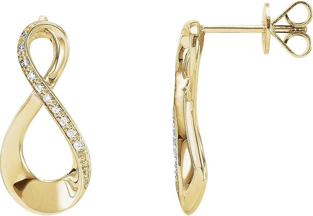 14K Yellow .08 Ctw Diamond Infinity-Inspired Earrings