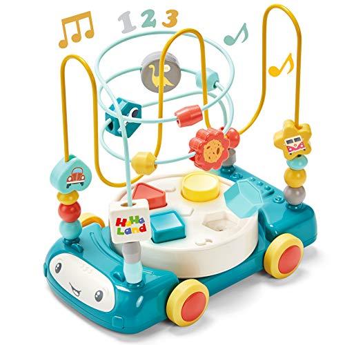 CubicFun Laberintos de Abalorios Coches de Juguetes Bebes 1 año Laberinto de Cuentas Clasificador de Formas Música con Luz Juegos Educativos Montessori Juguetes para Niños 1 2 3 años