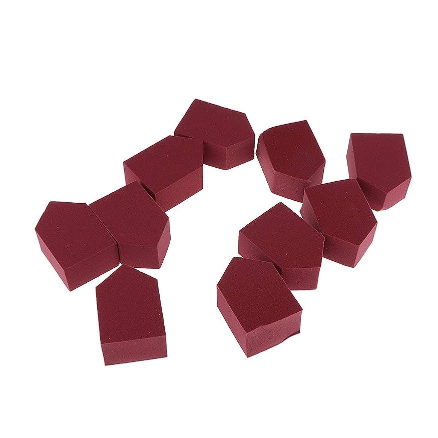 月曜サラダ政令SM SunniMix 10個 化粧スポンジ ウェッジブレンダー ファンデーション クリーム パフ 5色選べ - ワインレッド