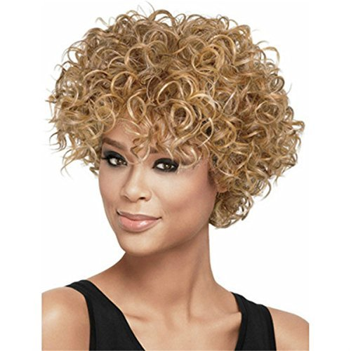 YX Natural Curly Synthetic African American Afro Wig With Bangs Short Wigs For Black Women (black)