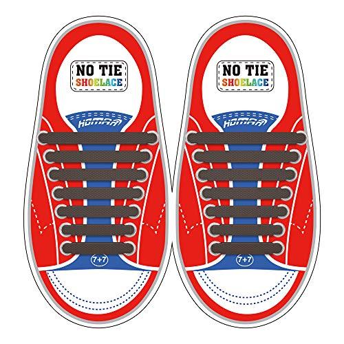 Homar sin corbata Cordones de zapatos para niños y adultos Impermeables cordones de zapatos de atletismo atlética de silicona elástico plano con multicolor de los zapatos del tablero Sneaker boots (Kid Size Brown)