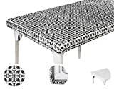 TopTableCloth 6ft 72x30 inch Black and White Patterned Plastic Rectangle Tablecloths Elastic Corner Vinyl Christmas Tablecloth Fitted Rectangular Folding Picnic Table Cover Party Home Thanksgiving