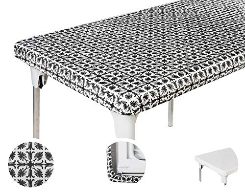 TopTableCloth 4ft 48 x 24 inch Black Patterned Rectangle Picnic Table Cover Elastic TableCloth on the Corner for Folding Table Outdoor TableCloths Plastic Vinyl Waterproof Stay Put Party Birthday Home