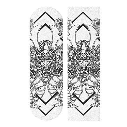 Hoja de cinta de agarre para monopatín, 33 x 9 pulgadas, dibujo a mano, papel de lija negro y blanco para Rollerboard, Longboard, cinta de agarre libre de burbujas, Scooter Grip Tape