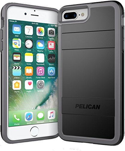 Pelican iPhone 6+,7+ and 8+, Protector Series - Military Grade Drop Tested, TPU, Polycarbonate Case for iPhone i7+,i8+ (Black/Grey) (C24000-000B-BKLG)