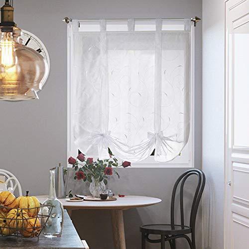i@HOME Raffrollo ohne Bohren Voile Transparent mit Stickerei Raffgardinen mit Schlaufen Fenstervorhang Scheibengardinen Rollos für Fenster (Weiß,140*140cm)