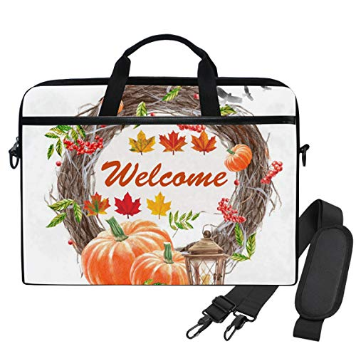 Emoya Laptopn Bag Welcome Autumn Wreath Pumpkin Messenger Laptop Shoulder Bag Compatible 13.3-14 Inch Computer