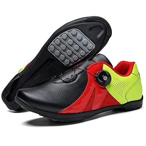 KUXUAN Calzado de Ciclismo para Hombre - Calzado de Ciclismo Sin Candado Calzado Deportivo para Mujer Calzado de Refuerzo para Bicicleta/Suelas de Goma,B-7UK=(255mm)=41EU