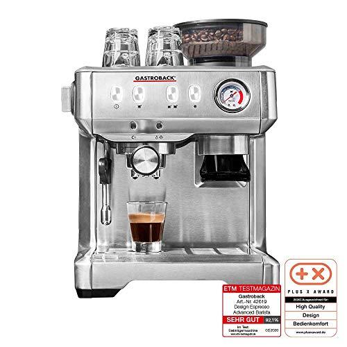 Gastroback 42619 Design Espresso Advanced Barista, programmierbare Siebträger-Espressomaschine mit Kegelmahlwerk und professioneller italenischer ULKA Espressopumpe (15 bar), edelstahl farben