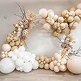 AivaToba - Kit de guirnaldas para globos de albaricoque con doble relleno de color crema de melocotón, globos blancos para boda, baby shower, novia, compromiso, fiesta de cumpleaños y género