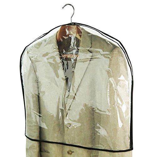 Hangerworld 10 Housses Couvre Épaules Transparentes Longues à Coutures Noires pour Vêtements