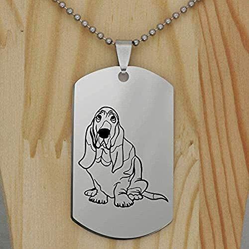 ZGYFJCH Co.,ltd Collar de Acero Inoxidable Basset Hond, Collar con Colgante de Perro, joyería Creativa para Perros