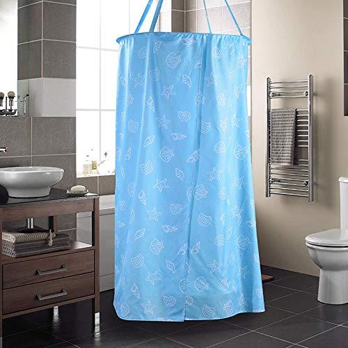 Duschvorhang Anti-Schimmel und Wasserabweisend Shower Curtain mit,Blaue Runde Reißverschluss Polyester Tuch Bad Abdeckung Bad Konto, Baby Erwachsene Warm Halten, 80 × 200 cm