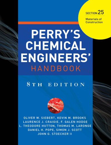 PERRYS CHEMICAL ENGINEERS HANDBOOK 8/E SECTION 25 MATERIALS OF CONSTRCTN (English Edition)