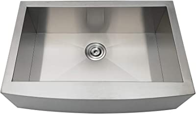 Kingston Brass GKTSF30209 Uptowne Drop-In Stainless Steel Single Bowl Farmhouse Kitchen Sink, Brushed