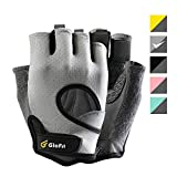 Glofit Freedom Workout Gloves, Knuckle Weight Lifting Shorty Fingerless Gloves with Curved Open Back, for Powerlifting, Gym, Women and Men (Grey, Small)