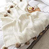 DONEUS Pom Pom Throw Blanket, 100% Polyester Knitted Throw Blanket for Sofa Bed Couch Office Super Soft Cable Knitted Blanket (Off-White, 51'x63')