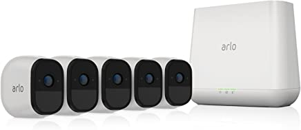 Arlo Pro by NETGEAR Security System with Siren (NETGEAR Reacondicionado) - 5 Rechargeable Wire-Free HD Cameras with Audio, Indoor/Outdoor (VMS4530)