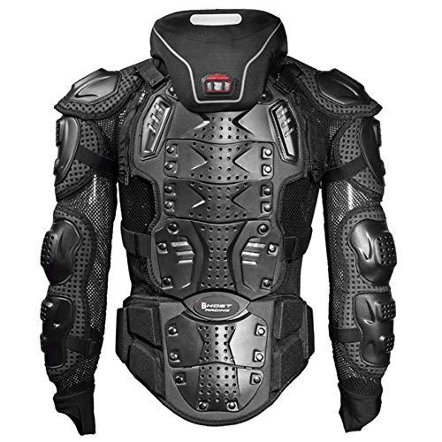 Massage-AED Armadura Motocross Hombre, Armadura Protectora Anti-caída para Motocicleta Motocicleta Ciclismo Patinaje Snowboard Protector de Pecho con protección de Pecho y Espalda Negro