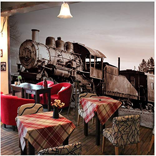 WH-PORP 3D carta da parati Foto Wallpaper 3D Industrial Retro Old Train Style Murale Soggiorno Divano TV Sfondo Tea House Camera da letto Coffee House Wallpaper-350cmX245cm