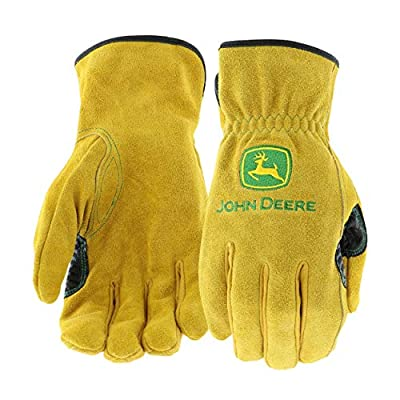 West Chester JD00004 John Deere Leather Gloves - Medium Size Split Cowhide Work Gloves with Shirred Elastic Wrist. Hand Protection Wear, Yellow, JD00004-M