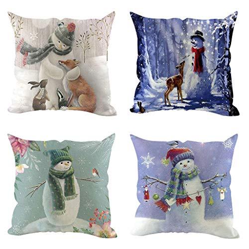 Iusun 4Pcs Christmas Pillow Covers Linen 18'' Square Waist Throw Pillowcase Winter Autumn Season Decor Sofa Pad Set Home Decorative Cushion Covers (A)