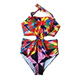 Baolifeng Tummy Control One Piece Padded Floral Print Halter High Waist Swimsuit Bathing Suit (L) Red